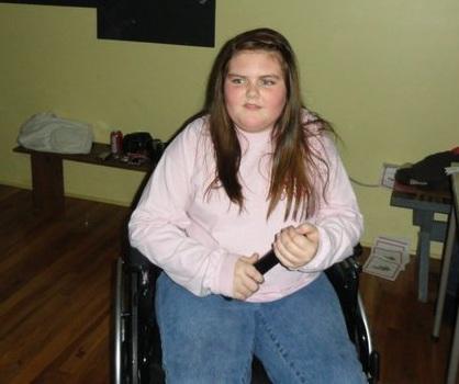 Hannah stuck in a wheelchair